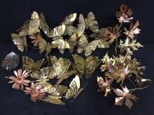 Set of copper wall art hangings -leaves and butterfly's