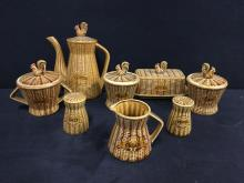 Selection of 50's Rooter and Chicken glazed stoneware service set w/ coffee, jam jar, etc