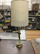 Fantastic brass and crystal vintage table lamp w/ figural base