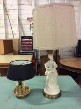 Vintage 3 light brass modern lamp and vintage figural lamp