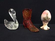 Set of three vintage glass and crystal pieces including a hand painted and signed Egg figure