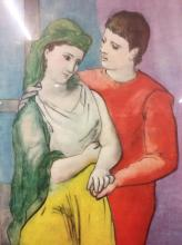 Vintage Courtship scene lithograph in pastels - in modern frame