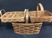 Set of 3 primitve hand made baskets