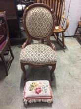 Antique European Walnut? Chair with vintage footrest