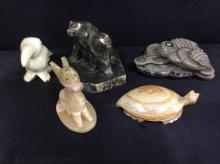 Set of 5 stone animal figurines/sculptures - nice lot