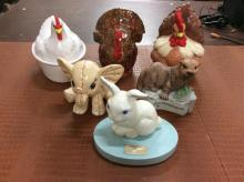 Set of animal figurines including two rooster/hen cookie jars