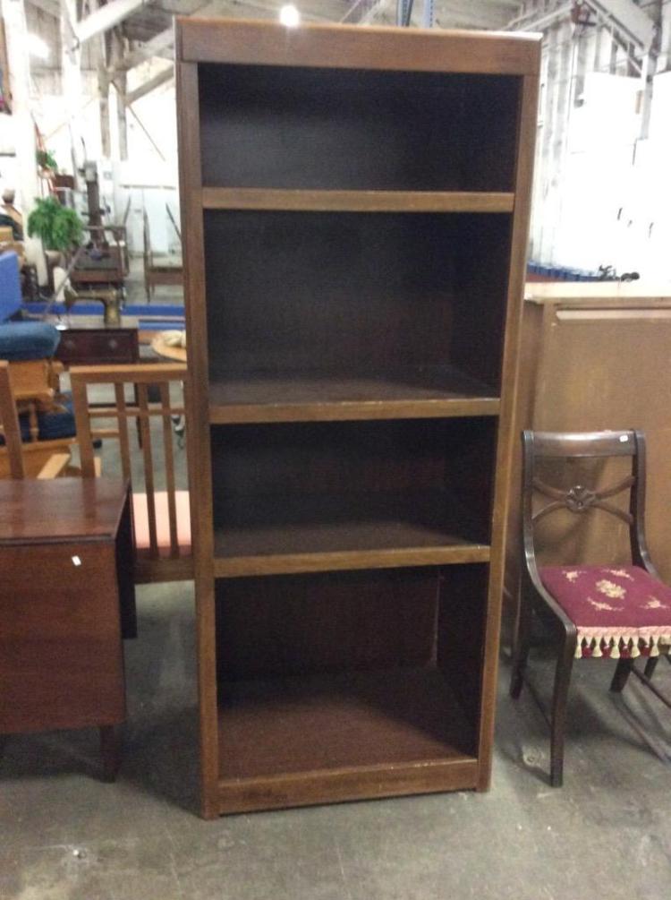 Modern walnut look 4 shelf bookcase for Furniture auctions uk
