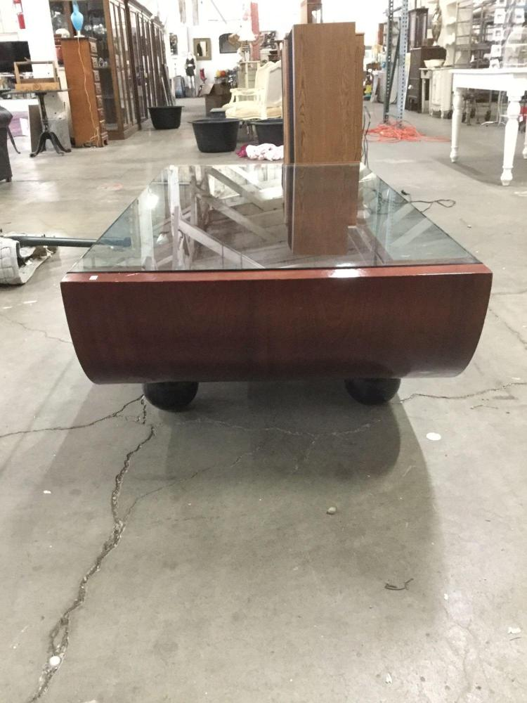 Modern curved form wood coffee table with glass top for Free form wood coffee tables