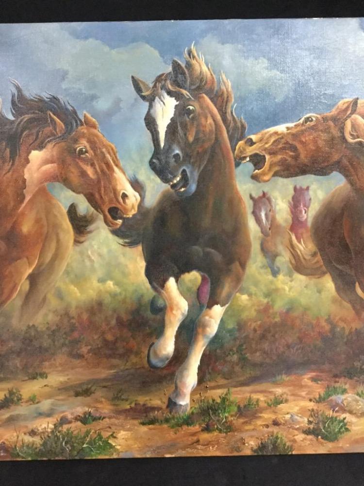 Wild horses original oil painting by Jacob William benson