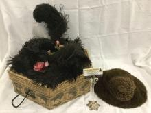 Pair of antique deco women's feather and fur hats - see pics