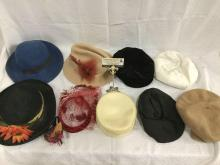 Collection of 9 vintage womens hats - Lancaster, Doeskin, lace and ornate hats too see pics