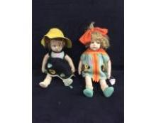 Pair of antique Lenci dolls felt cloth In remarkably good condition W/original clothes
