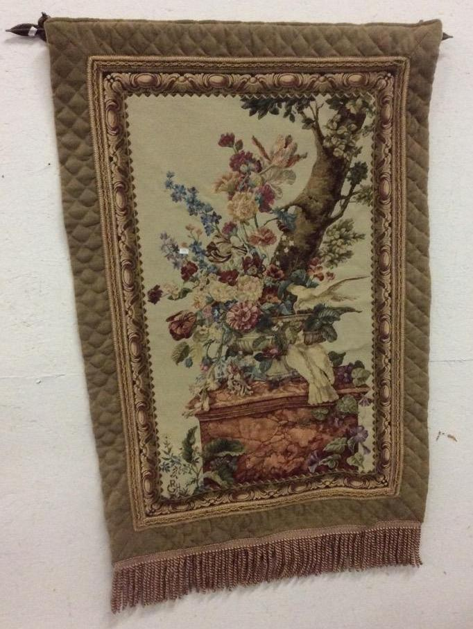 Vintage Reproduction Antique European Tapestry W Flower Sce