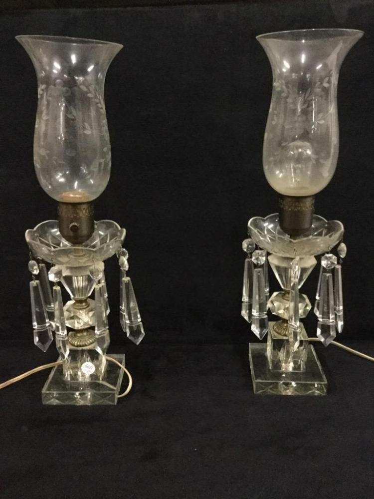 Lot Pair Of Vintage Crystal Candlestick Holders With Shades Converted To Lamps