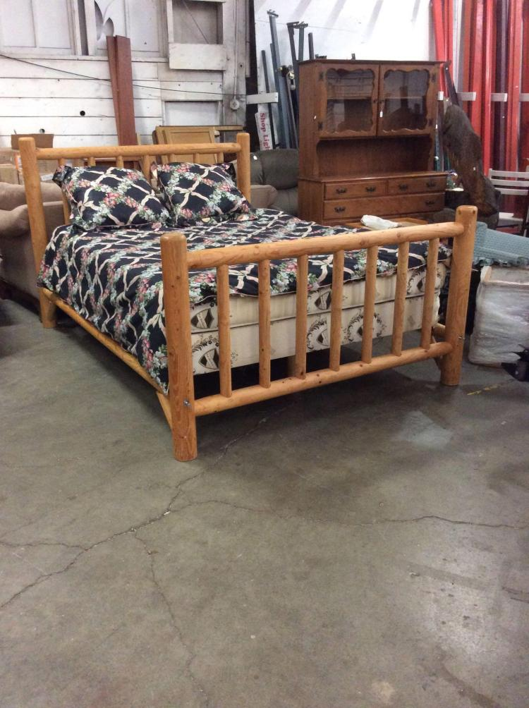 Very cool full size log cabin style log bed mattress and co for Log cabin style bunk beds