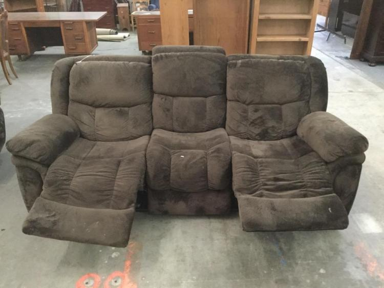 Brown Microfiber Overstuffed Reclining Couch Plus Another Ma