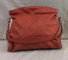 Lightly used vintage Chanel orange/pink shoulder bag w/ diamond stitching - approx $3500 value