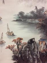 Lovely hand painted mountain scene Japanese scroll