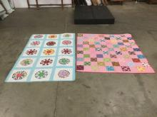 5 vintage handmade quilts from small to large 8' x 5 1/2' sz incl. colorful prints & unique patterns