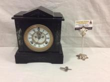 Waterbury Clock co. 1881 marble cased and skeleton face time/strike clock w/ brass trim - good cond