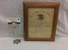 Antique Civil War era U.S. Army discharge papers from 1864 - see pics fair cond in oak frame