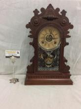 Antique time/strike WM Gilbert gingerbread clock in good cond. w/ nice detail and carving