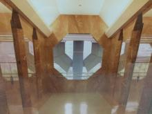 Lawrence W Oliverson hand signed Photo of 701 Bldg 2nd floor lobby designed by Helmut Jahn