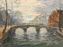 Vintage oil painting of city canal and bridge signed by the artist