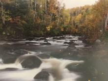 Photography of a river through a forest signed by artist Jay Steinke & numbered 54/500