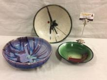 3 ceramic hand glazed art bowls incl. 2 signed - green and red, purple hues & mid century look