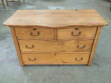 Antique wooden 4 drawer serpentine front early Americana dresser with dove tail joints