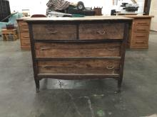 Vintage 40's era two tone wood dresser - as is see pics