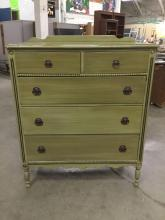 Vintage 1940's green 5 drawer tall boy dresser with ornate detail and hardware