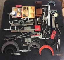 collection of approx. 45 calipers and micrometers in various sizes
