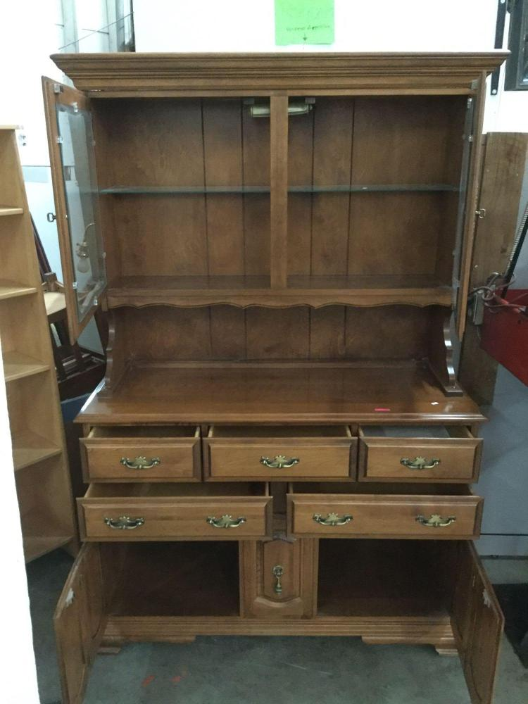 One piece maple wood hutch on casters w glass shelves by th for Furniture auctions uk