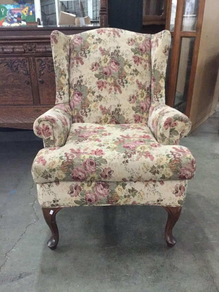 Floral Vintage Wingback Armchair