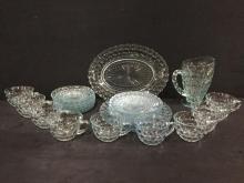 Selection of vintage light blue MCM blue bubbled/hobnailed glass cup/saucer set w/ pitcher