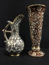Hand painted Grecian Water Pitcher and Vase set by Ikaros Pottery