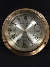 Electric Ships Time brass porthole style wall clock