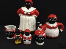 Ceramic Black Americana 6 piece set Cookie Jar, Tea pot, sugar, creamer, salt and pepper