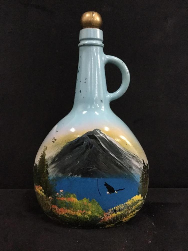Old and unique hand painted art glass bottle with beautiful for Unique glass bottles