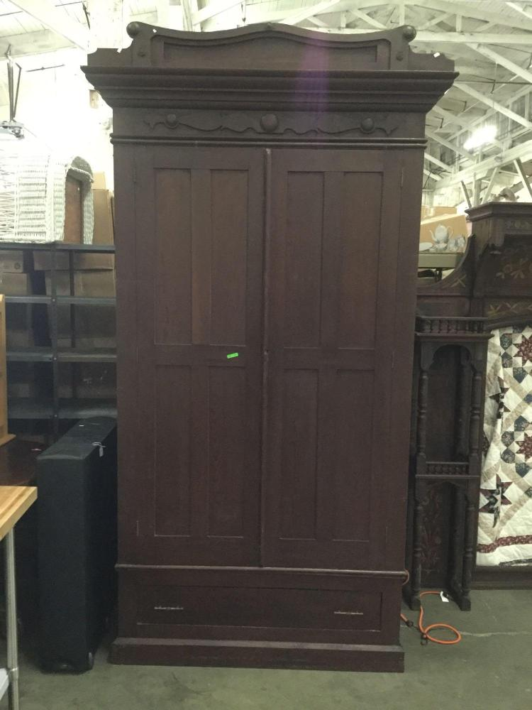 Large antique late 1800's dark wood armoire wardrobe with pa