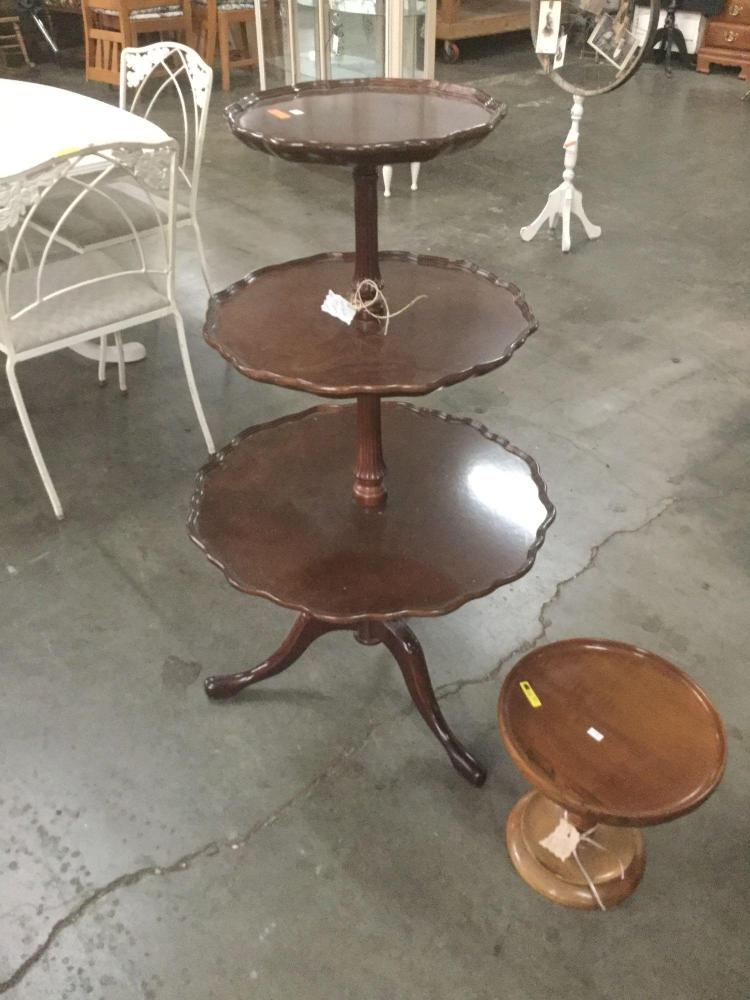 Vintage three tiered wooden pie table and small cake