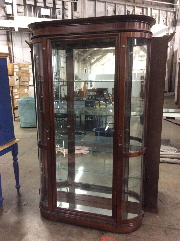 Lovely Modern Glass Curio Display Hutch With Lighted Top And