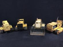 collection of 4 Tonka bulldozers for parts or repair