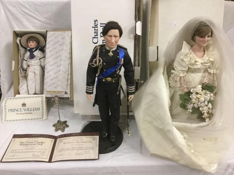 Danbury Mint Prince Charles Bride Groom Princess Diana Bride Doll With Signed Coa Prince William