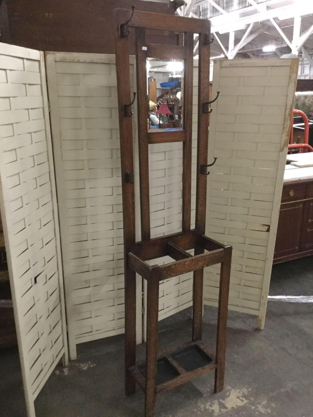 Lot Antique Burnished Wood Skinny Hall Tree With Cast Hooks Mirror And Umbrella Stand