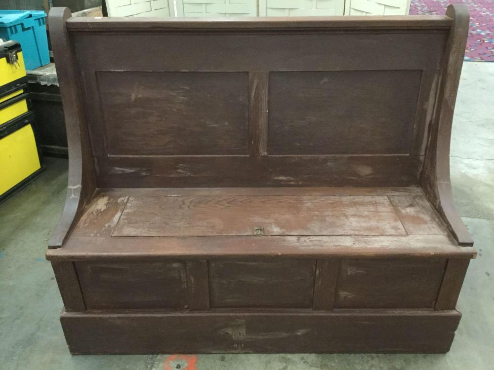 Awesome Antique Church Style Wooden Pew Bench With Storage Seat Cjindustries Chair Design For Home Cjindustriesco