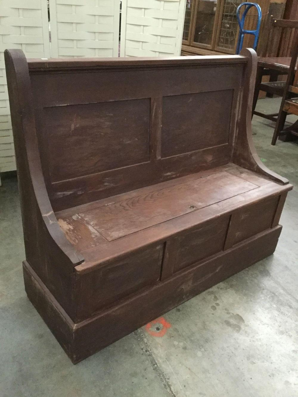 Pleasant Antique Church Style Wooden Pew Bench With Storage Seat Caraccident5 Cool Chair Designs And Ideas Caraccident5Info