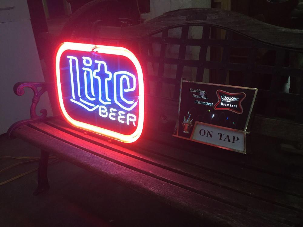 Miller Lite neon advertising bar sign & Miller Lite color ch